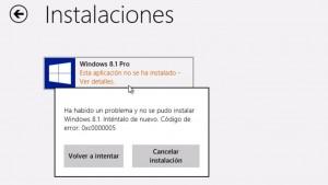 Cómo solucionar el error 0xc0000005 al actualizar a Windows 8.1
