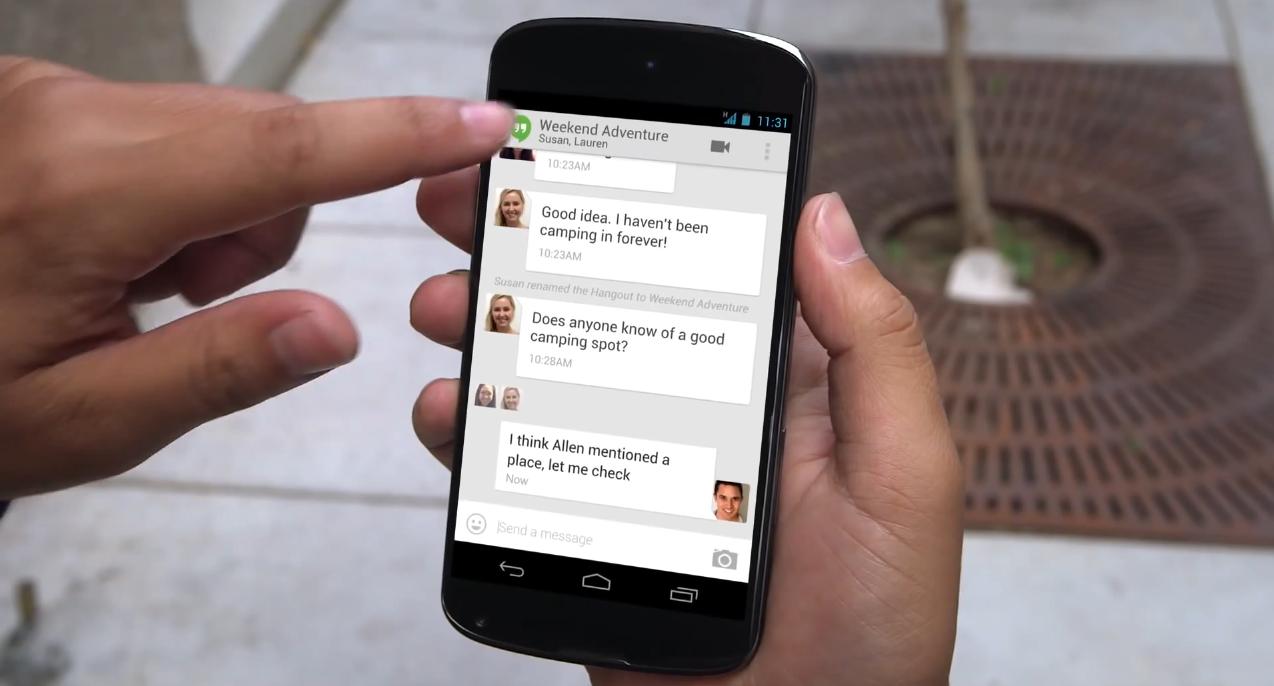 Hangouts podría reemplazar la app de SMS/MMS en el próximo Android 4.4 Kit Kat