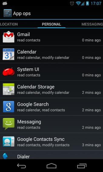 tela gerenciador de apps Android