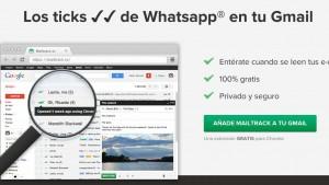 "MailTrack aplica los tics de ""enviado"" de Whatsapp a tu Gmail"