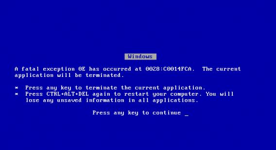 Avec Windows 95 et Windows 98, les erreurs critiques (écrans bleus) étaient particulièrement fréquentes
