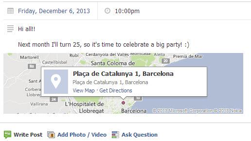 Créer des événements sur Facebook : indiquez bien l'adresse