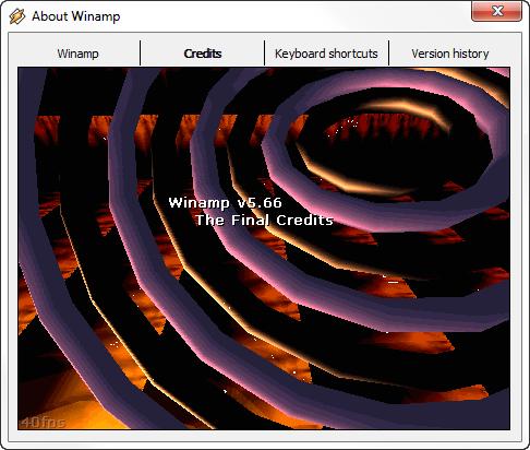 Tela de créditos do Winamp