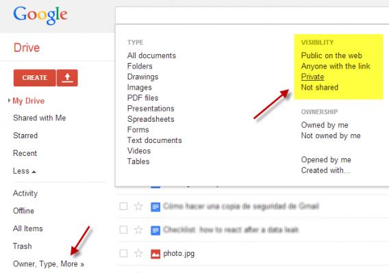 Filtros do Google Drive