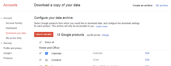 Gmail and Calendar backup