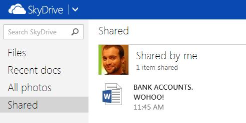 Propriedades do compartilhamento de arquivos no SkyDrive
