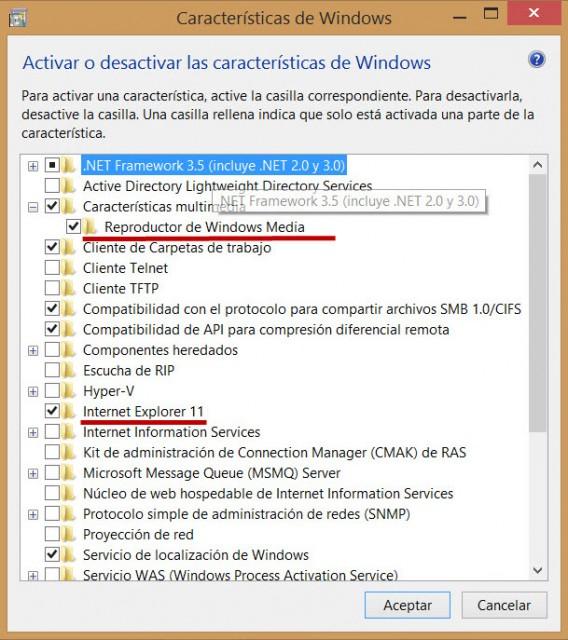 Lista de recursos do Windows