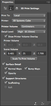 Photoshop CC 3D settings