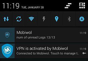 Notificações do Android mostrando o Mobiwol em funcionamento