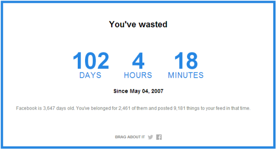 Find out how much time you've wasted on Facebook