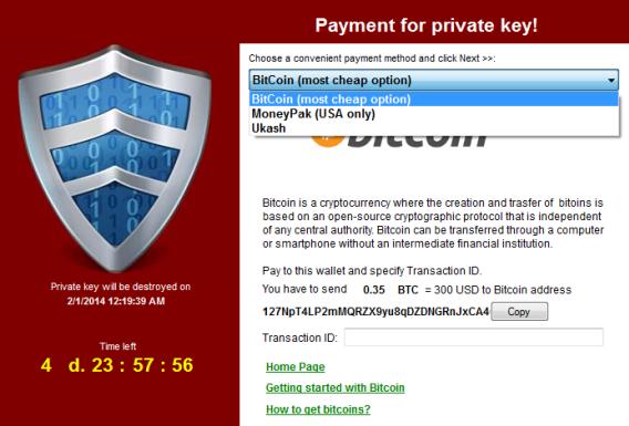 Tela de pagamento via BitCoin