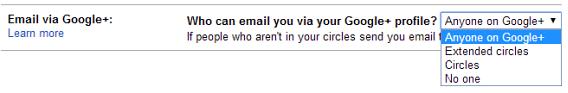 Opções de permissão para recebimento de emails via Google+