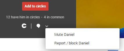 Tela de bloqueio e denuncia de perfis no Google+