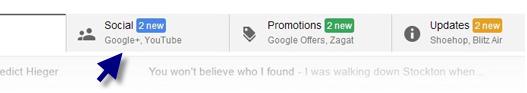 """Mensagens enviadas pelo Google+ vão para a aba """"Social"""" do Gmail"""