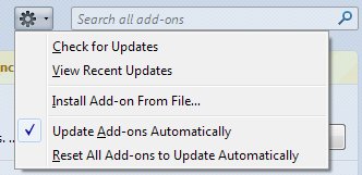 Opção para atualizar as extensões automaticamente