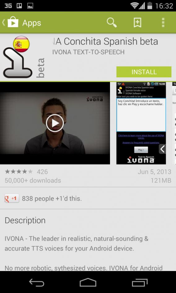 installez une voix TTS sur Android avec IVONA