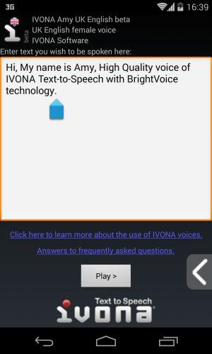 Essayez la voix dans l'éditeur d'IVONA