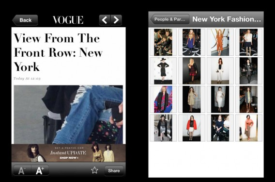 Tela do Vogue Daily News