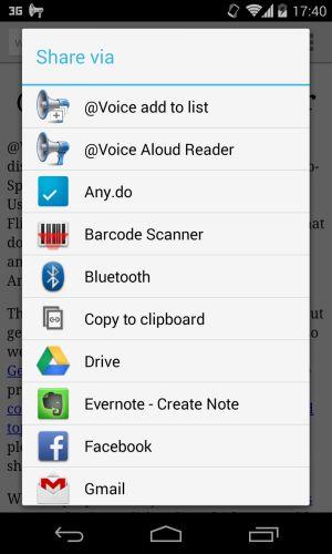 Voice Aloud Reader : fonction partager