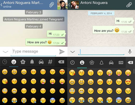 Telegram and WhatsApp, side-by-side