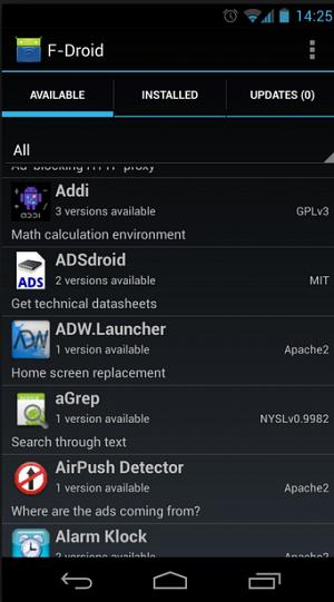 Loja de aplicativos alternativa F-Droid
