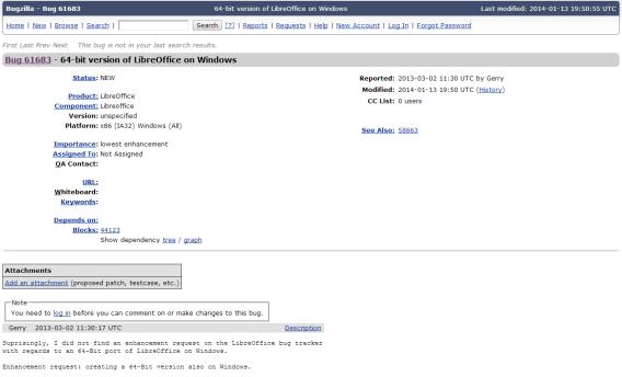 Tela com petição online para versão x64 do LibreOffice