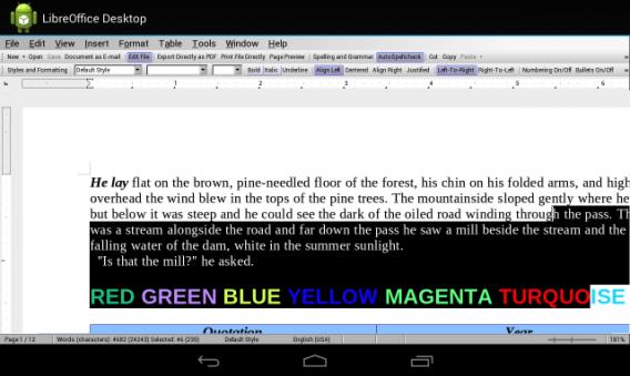 Tela da versão em desenvolvimento do Libre Office para Android