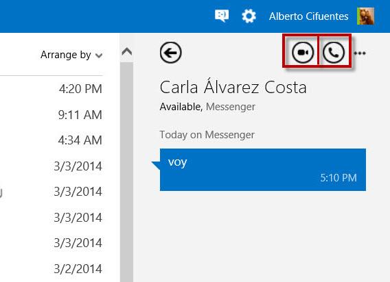 Outlook.com Skype calls