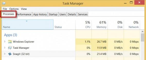 Tela de processos do Windows 8