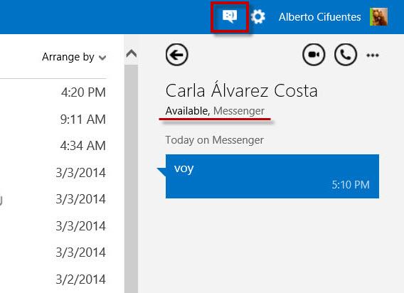 Tela do status de disponibilidade no Outlook