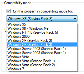 Modo de compatibilidade do Windows