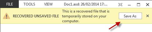 Une capture d'Office 2013 à l'ouverture d'un fichier de récupération Word (.ASD)