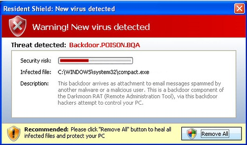 A fake virus warning: the user clicks and the PC gets infected