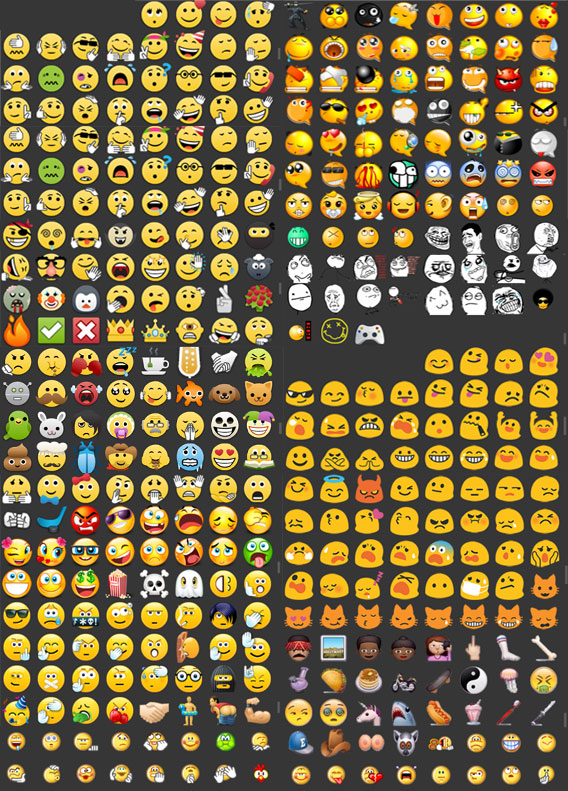 Quadro com todos os emoticons do WhatsApp+