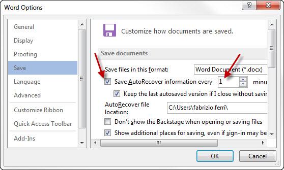Dans les options de Word, activez la récupération automatique et diminuez l'intervalle de sauvegarde