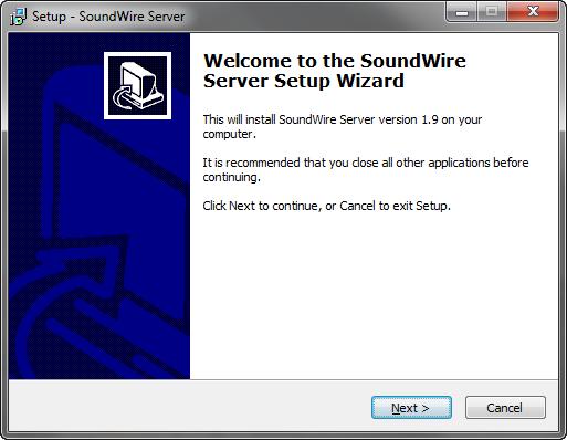 Tela de instalação do SoundWire