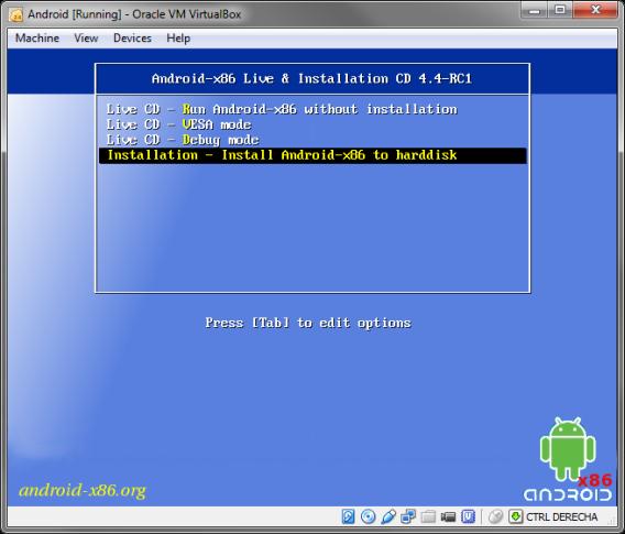 Boot-Bildschirm von Android x86
