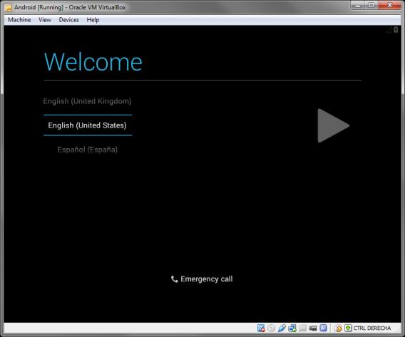 Willkommensbildschirm ANdroid x86