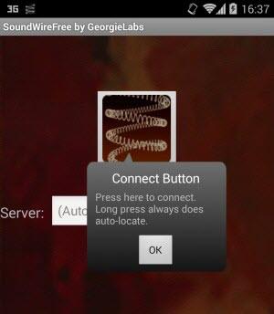 SoundWire tenta detectar o servidor quando o app é aberto