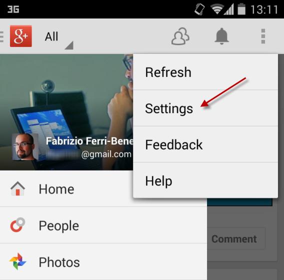 Menu de configurações do Google+