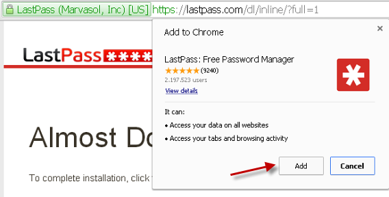 Permissão para usar o LastPass no Chrome