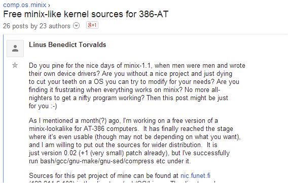 Mensagem sobre o Linux no Grupos do Google