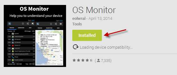 Instale o OS Monitor a partir do Google Play Store