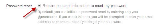 Opção do Twitter que exige mais informações antes de gerar um novo código de acesso