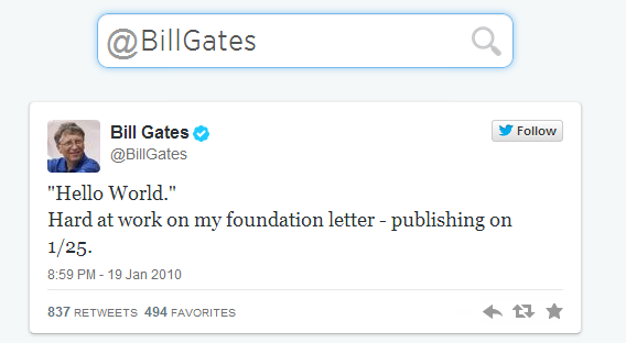 Primeiro Tweet do Bill Gates
