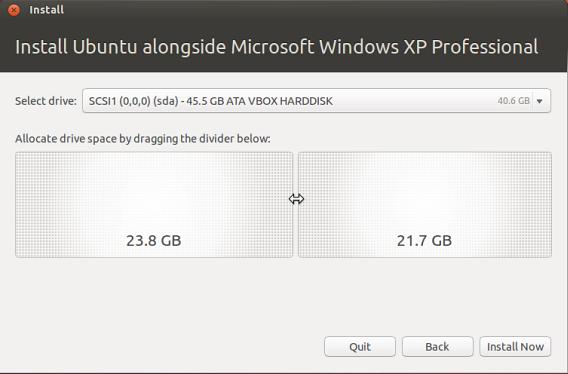 Ubuntu analisa o espaço necessário para os dois sistemas operacionais