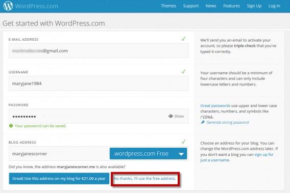 Selecione a opção de usar o domínio gratuito no WordPress