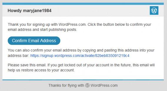 E-mail do WordPress para você ativar a conta