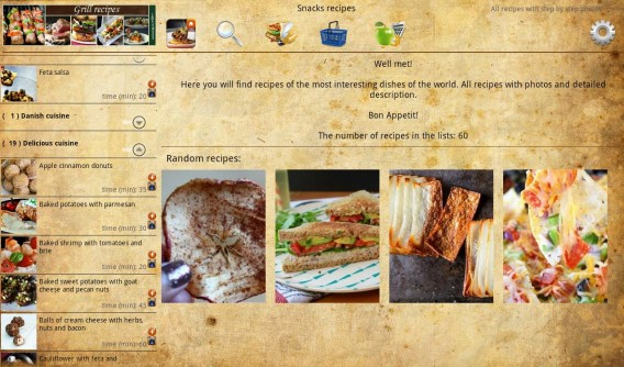 Interface de Snack Recipes
