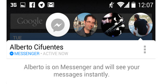Facebook Messenger, les bulles de contact